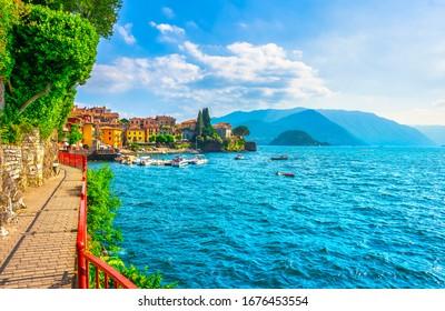 Varenna Walk of Lovers in Como lake district. Italian traditional lake village. Italy, Europe.