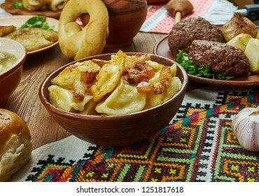 Varenyky, filled dumplings of Central European, Ukrainian cuisine,  Traditional assorted dishes, Top view.