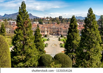 Varese, Italy: April 16, 2018: Gardens of Estense Palace (Palazzo Estense), is one of the most popular place in Varese, Italy.