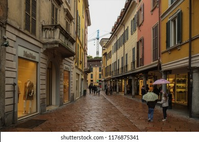 VARESE, ITALY - APRIL 2013; Center of Varese city, little shops and touristic cafe, Italy