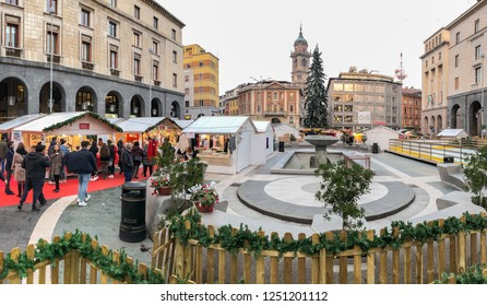 Varese, Italy - December 6, 2018: Outside Christmas market on Monte Grappa square in the center of Varese, Italy