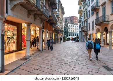 Varese, Italy - December 6, 2018: Corso Matteotti street, is pedestrian only and allows for quiet walks in the heart of the center of Varese, Italy