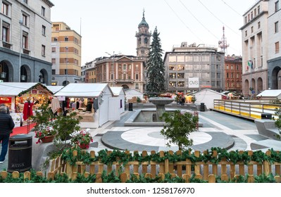 Varese, Italy - December 6, 2018: Christmas market on the Monte Grappa square in the center of Varese, Italy