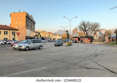 Varese, Italy - December 7, 2018: View of main Street Milano in the center of Varese, Italy