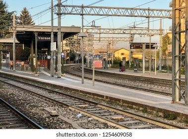 Varese, Italy - December 7, 2018: Varese North Rail Station in the city center, it is one of the three railway stations of the Italian city of Varese.