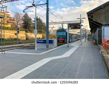 Varese, Italy - December 7, 2018: Train at Varese North Railway Station in the city center, it is one of the three railway stations of the Italian city of Varese.