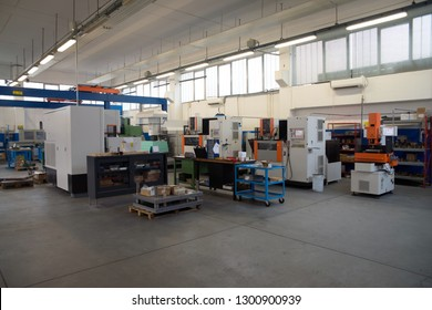 VARESE, ITALY - February 24, 2018 - Company specialized in the design and manufacture of dies for blanking and bending metal sheet. Machine tools with Computer Numerical Control (CNC)