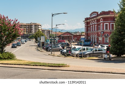 Varese, Italy - July 19, 2018: Varese North train station in the city center, it is one of the three railway stations of the Italian city of Varese.