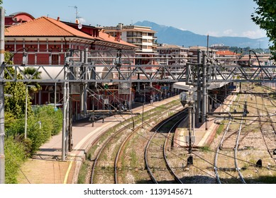 Varese, Italy - July 19, 2018: High angle view of the Varese North railway station in the city center of Varese, Italy