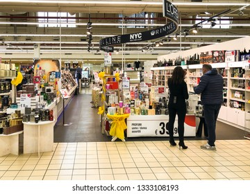 Varese, Italy - Marc 7, 2019: Perfumery department inside of the IPER of Varese hypermarket, interior of the shopping center, Varese, Italy