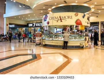 Varese, Italy - Marc 7, 2019: Artisan ice cream CremAmore shop inside of the IPER of Varese hypermarket, interior of the shopping center, Varese, Italy