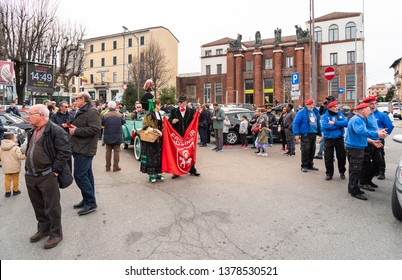 Varese, Italy - March 2, 2019: Demonstration parade of the Historic Cars on the North train station square in Varese, Italy