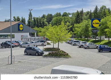Varese, Italy - May 25, 2018: Lidl Stiftung & Co. KG is a German global discount supermarket chain with over 10,000 stores across Europe and the United States. Store of Varese - Masnago, north Italy