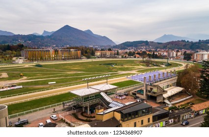 Varese, Italy - November 16, 2018: View of Racecourse Le Bettole, for horse and bets from above in Ippodromo street of Varese, Italy.