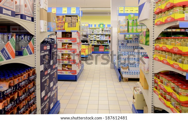 VARESE, ITALY-APRIL 11, 2014: Packaged goods in a supermarket aisle, in Varese.
