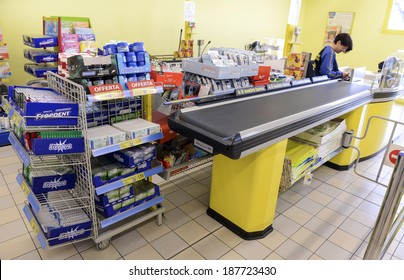 VARESE, ITALY-APRIL 11, 2014: Supermarket cashier, in Varese.
