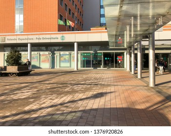 Varese, Lombardy, Italy - February 13, 2019: View of the exterior of Circolo Hospital or ospedale di Circolo and Macchi Foundation, is the largest hospital of Varese, Italy.