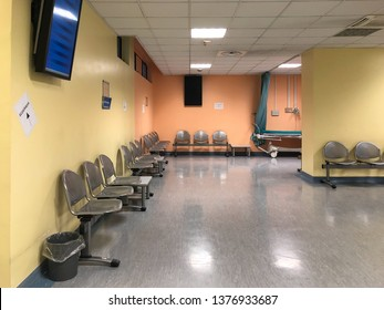 Varese, Lombardy, Italy - February 13, 2019: Interior of the Circolo Hospital or ospedale di Circolo and Macchi Foundation, is the largest hospital of Varese, Italy.