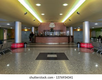 Varese, Lombardy, Italy - February 13, 2019: Interior entrance to the Circolo Hospital or ospedale di Circolo and Macchi Foundation, is the largest hospital of Varese, Italy.
