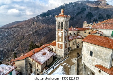Varese, Lombardy, Italy - Jenuary 31, 2019: Aerial drone view of the Sacro Monte of Varese, is a sacred mount is a historic pilgrimage site and Unesco World Heritage, Varese, Lombardy, Italy
