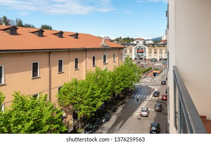 Varese, Lombardy, Italy - Marc 15, 2019: Cityscape with a view of Le Corti Shopping Center in the center of Varese, Italy