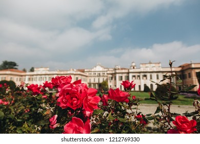 Varese OCT 2018 ITALY - flowers against the Estense Palace, or Palazzo Estense
