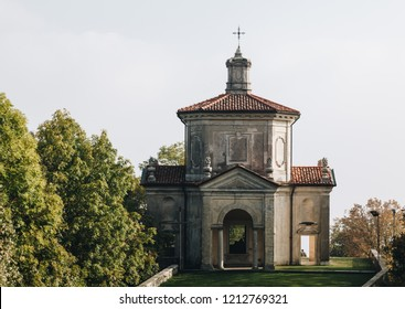 Varese OCT 2018 ITALY - the last chapel in the square of arrival of the sacred mountain of Varese, Italy.