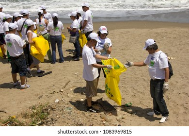 Vargas/ Venezuela - February 24th, 2011: International Coastal beach cleanup day activity in La Guaira beach.  World biggest volunteer effort to protect the ocean and fight ocean trash