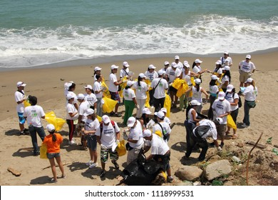 Vargas/ Venezuela - February 24th, 2011: International Coastal beach cleanup day activity in La Guaira beach.  World biggest volunteer effort to protect the ocean and fight ocean trash