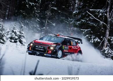 VARGASSEN, SWEDEN - 02-11-2017:  Craig Breen with his Citroen WRC car during the event Rally Sweden 2017