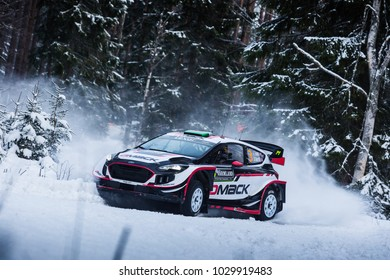 VARGASSEN, SWEDEN - 02-11-2017:  Elfyn Evans with his Ford WRC car during the event Rally Sweden 2017