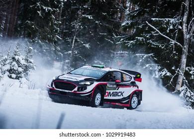 VARGASSEN, SWEDEN - 02-11-2017:  Elfyn Evans with his Ford WRC car during the event Rally Sweden 2017