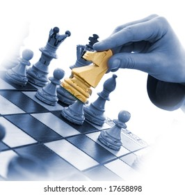 Variants chess composition on white background
