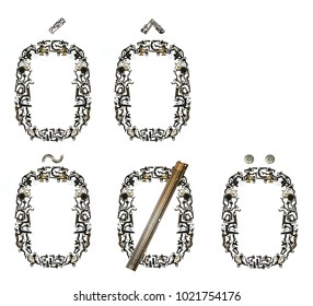 Variants of letter `O`, assembled from metallic parts, isolated on white