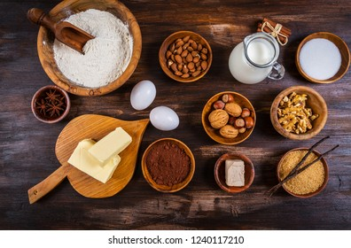Variation of baking ingredients for Christmas cookies and cake
