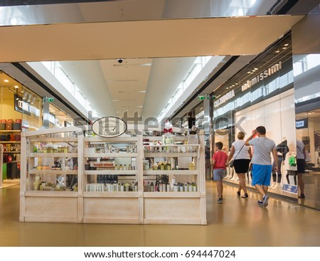 d3bda4d7ebfaff Variation of clothing stores in the Factory Outlet shopping mall on August  2017 in Lubon