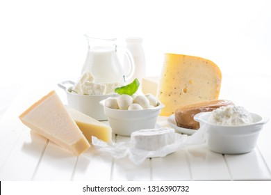 Variation of dairy products on white background