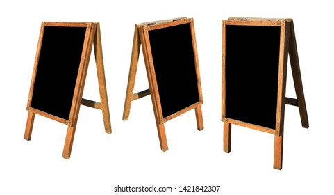 Variation of empty black board on easel isolated on white background