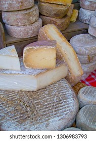 Variation of French cheese in a market. France