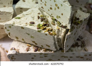 variation of white nougat in south german markethall in stuttgart with delicious assortment of nougat