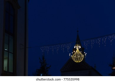 variations on a lustre at christmas market blue hour at december advent in a historical city near munich and stuttgart