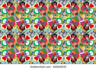 Varicolored raster seamless illustration. Tropical seamless pattern with many motley abstract flowers.