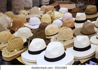 varied fashion hats showcase perspective market shop