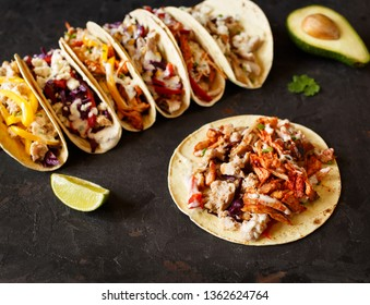 Varied traditional mexican corn tacos flat lay composition