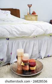 Variegated candles in the bedroom