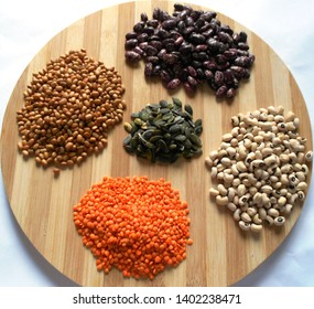 Varieties of beans, pumpkin seeds, lentils. Food that rich with protein, dietary fiber, and numerous micronutrients.  Keep fit, healthy and good mood.