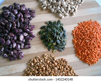 Varieties of beans, pumpkin seeds, lentils Food that rich with protein, dietary fiber, and numerous micronutrients.  Keep fit, healthy and good mood.