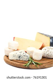 Varieties of cheese on a cutting board