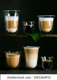 varieties of coffee, double bottom glasses, americano, cappuccino, latte macchiato, doppio, caffelatte, long, espresso macchiato