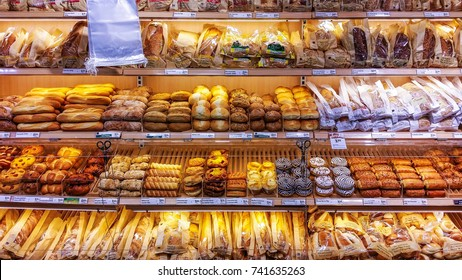Varieties of colorful bread and bun and donuts on display